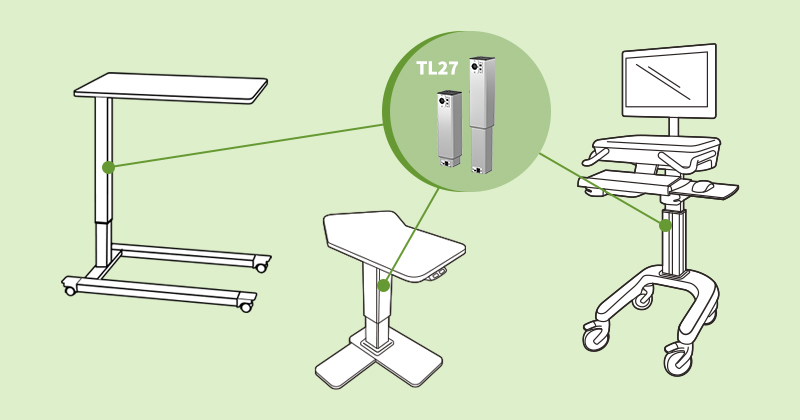 Electric actuators for side tables and nursing carts