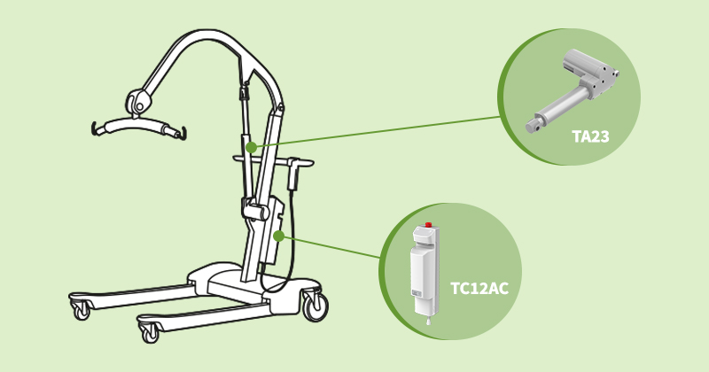 Electric actuators for patient lifts